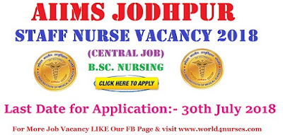 AIIMS Jodhpur Staff Nurse Recruitment 2018