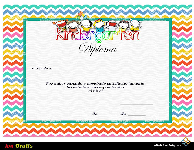 Plantilla para diploma de Kindergarten