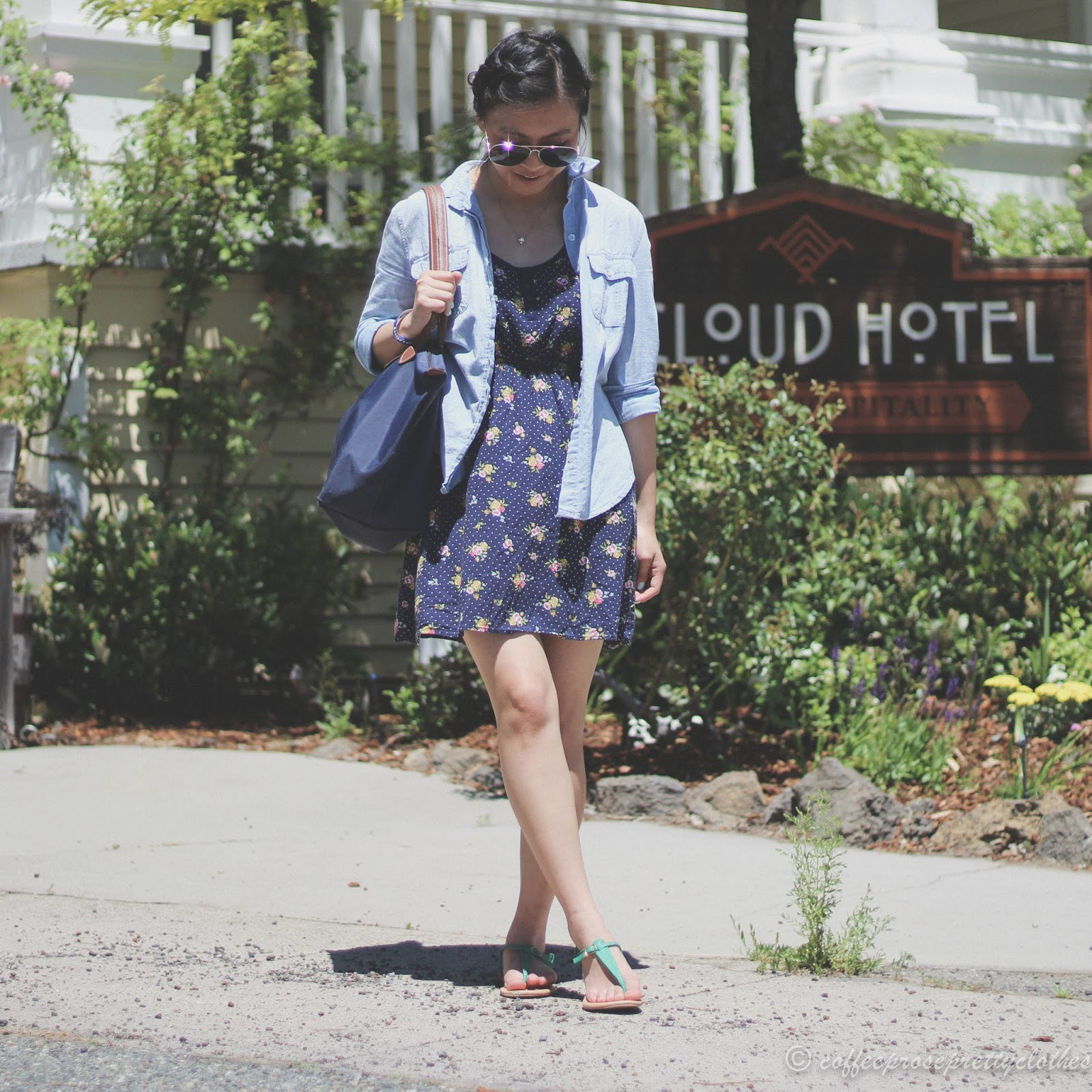 Floral Dress with Chambray Shirt, milkmaid braids, and LongChamp LePliage