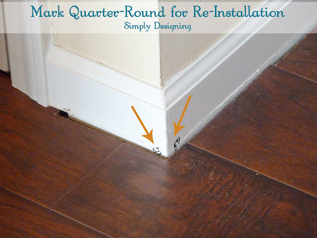 Mark Quarter Round to Make Re-Installation Easy | #diy #laminateflooring #flooring #homeimprovement | at Simply Designing