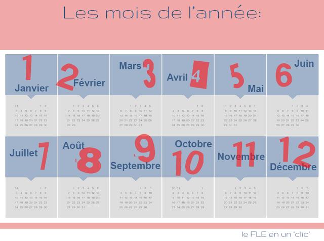 vocabulaire, infographie, les moins de l'année en français, le FLE en un clic
