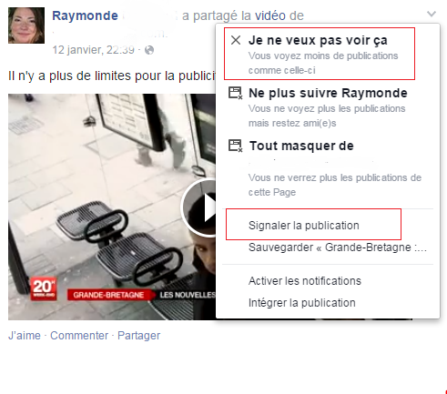 Options de signalement sur Facebook