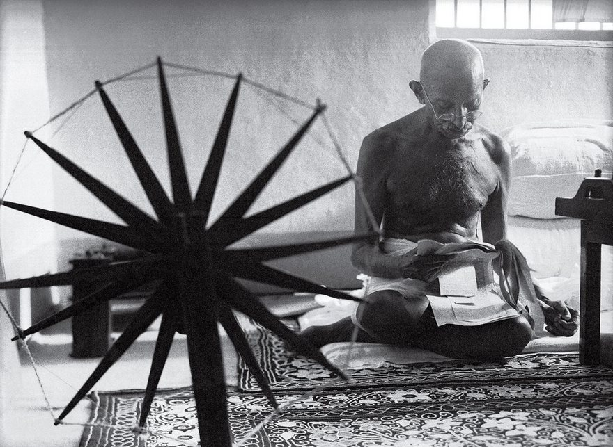 #33 Gandhi And The Spinning Wheel, Margaret Bourke-White, 1946 - Top 100 Of The Most Influential Photos Of All Time
