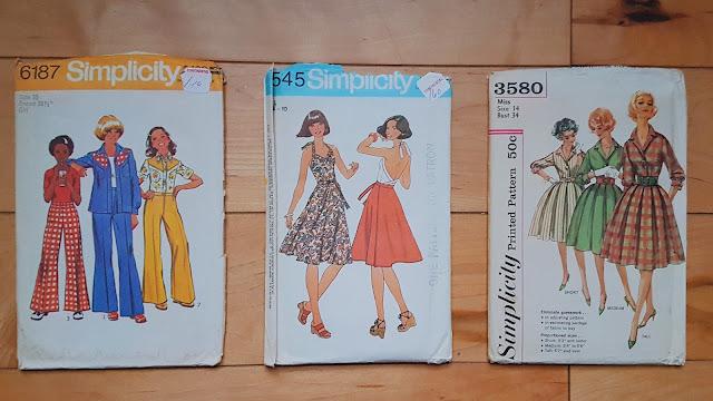 Girls suit simplicity 6187, halter top and skirt simplicty 7545, shirtwaist dress simplicity 3580