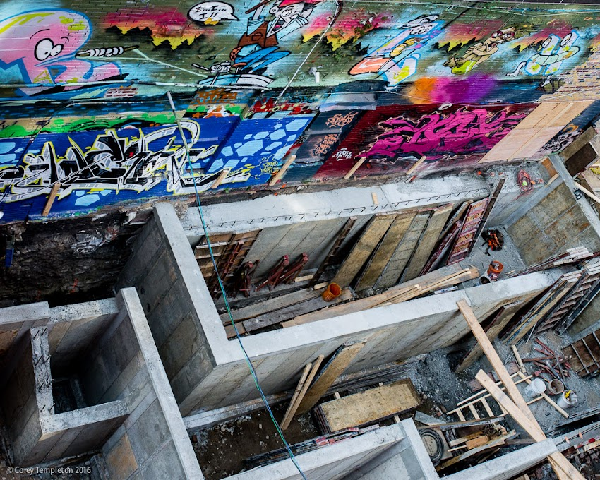 Portland, Maine USA September 2016 photo by Corey Templeton. A top-down view of part of the expansion of the Asylum music venue/nightclub/sports bar on the corner of Free & Center Streets. It has a maze-like quality from this perspective.
