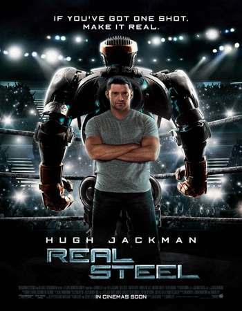 Poster Of Real Steel 2011 Dual Audio 500MB BRRip 720p ESubs HEVC Free Download Watch Online downloadhub.net