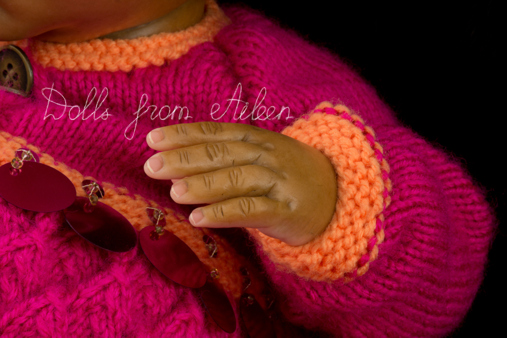 OOAK Hand Sculpted Sleeping Indian Baby Girl Doll's Hand