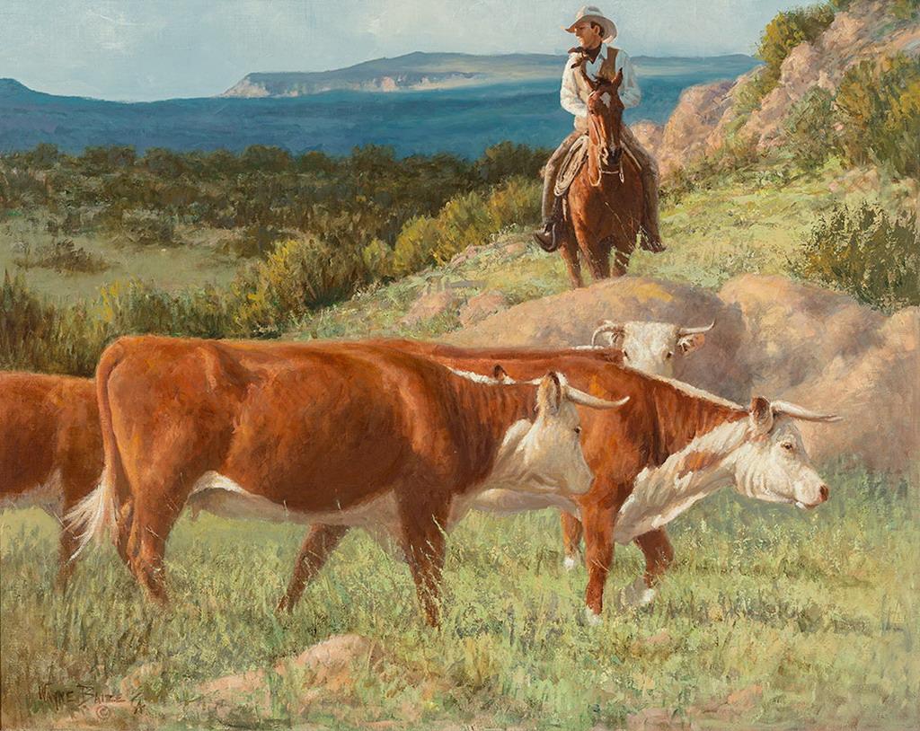Cuadros modernos pinturas y dibujos composiciones del western americano pintura de wayne - Cuadros de vacas ...