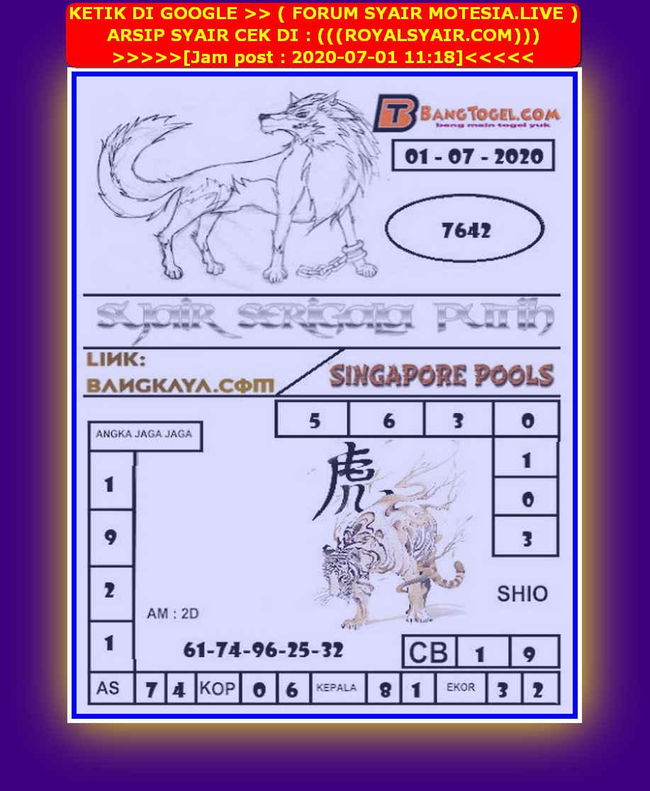 Kode syair Singapore Rabu 1 Juli 2020 134