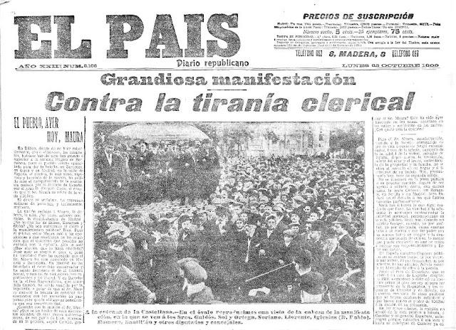 Portada del diario El País del 25 de octubre de 1909