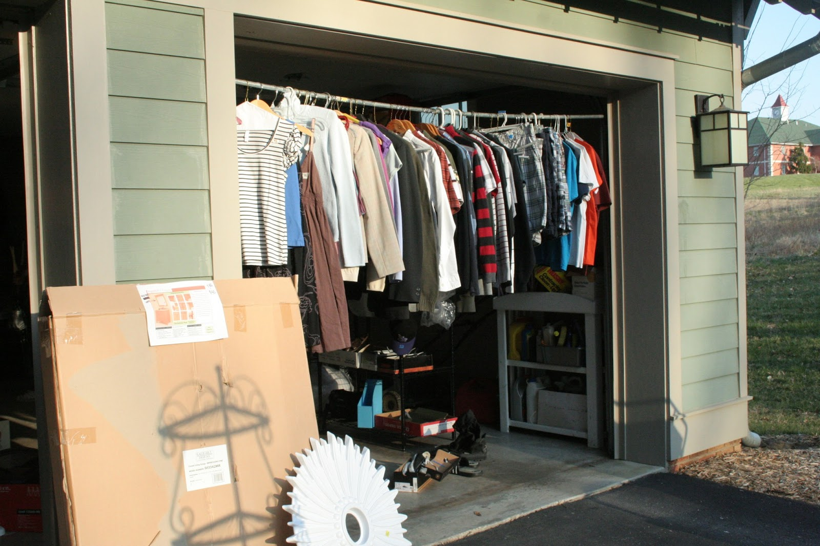 How To Hang Clothes At A Garage Sale on homemade round clothes rack for garage sale, ghetto garage sale, yard sale, ideas for garage to hang clothes on sale,