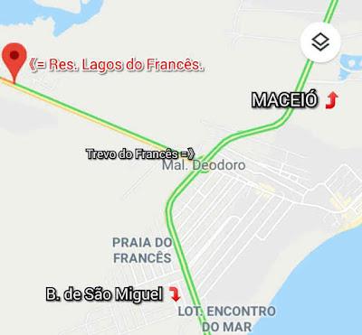 Endereço: Residencial Lagos do Francês - AL-215, Marechal Deodoro - AL