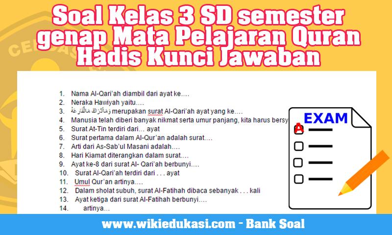 Soal Kelas 3 SD semester genap Mata Pelajaran Quran Hadis Kunci Jawaban