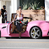 Amber Rose steps out in her pink Ferrari