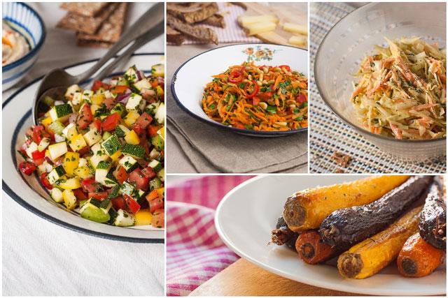 Svježe ili pečeno povrće i salate kao zdrav dodatak doručku - kolaž