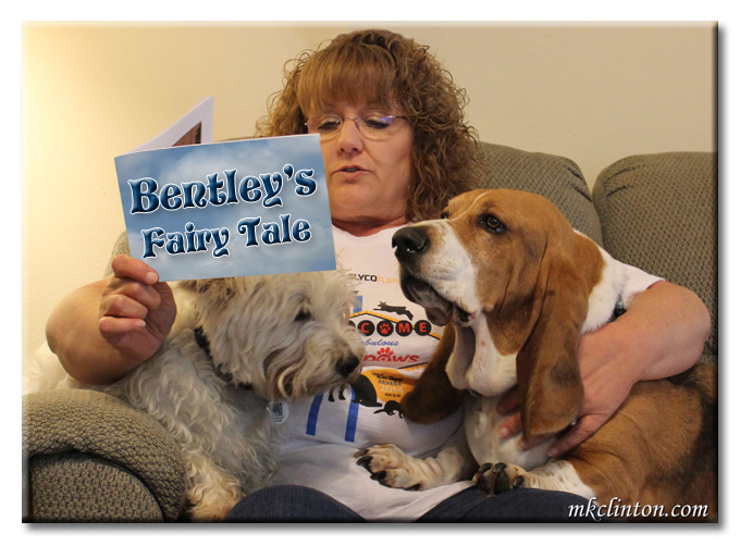 Woman reading a fairy tale to a Westie and Basset Hound