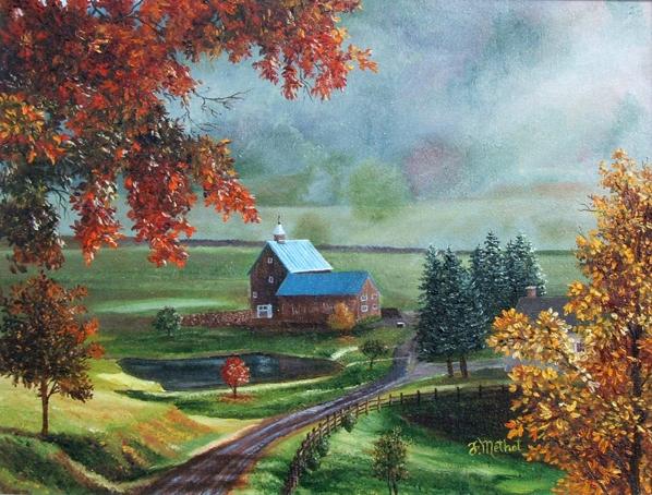 Fran oise m thot artiste peintre galerie maisons paysages for La maison rouge perce