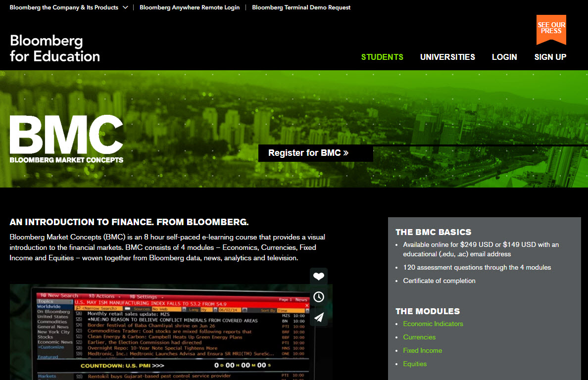 Bloomberg Market Concept Completed The Training And Got The