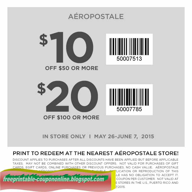 Aeropostale coupons in store printable