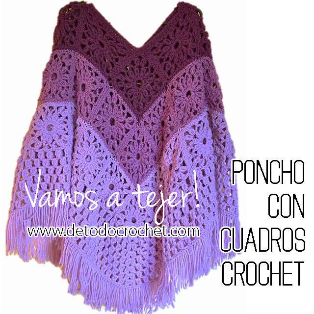 moldes de poncho crochet
