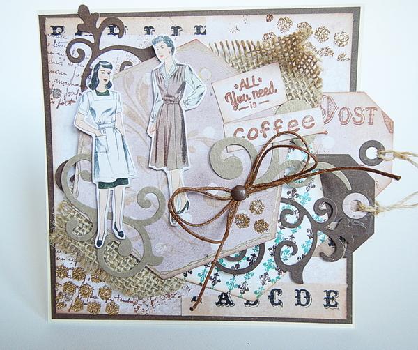 Kartka w kolorze kawowym, ręcznie robiona