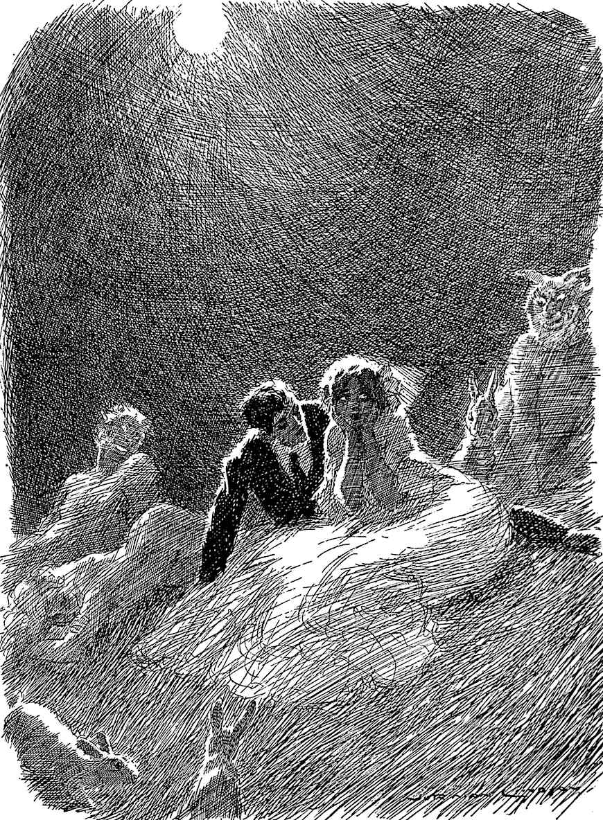 a Norman Lindsay illustration of seduction in moonlight