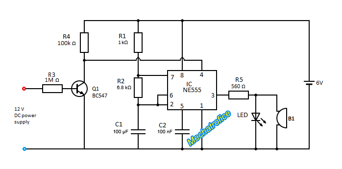 power failure indicator circuit using ne555 ic