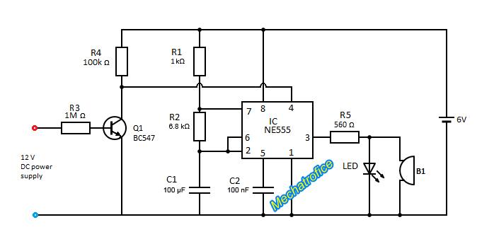 Power failure indicator circuit using NE555 IC