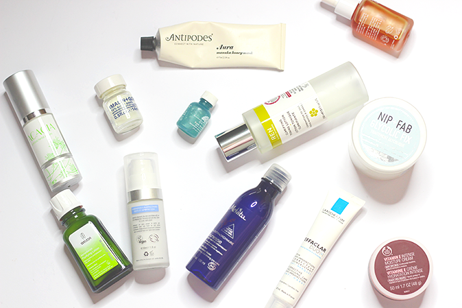 a photo with products that help to deal with breakouts