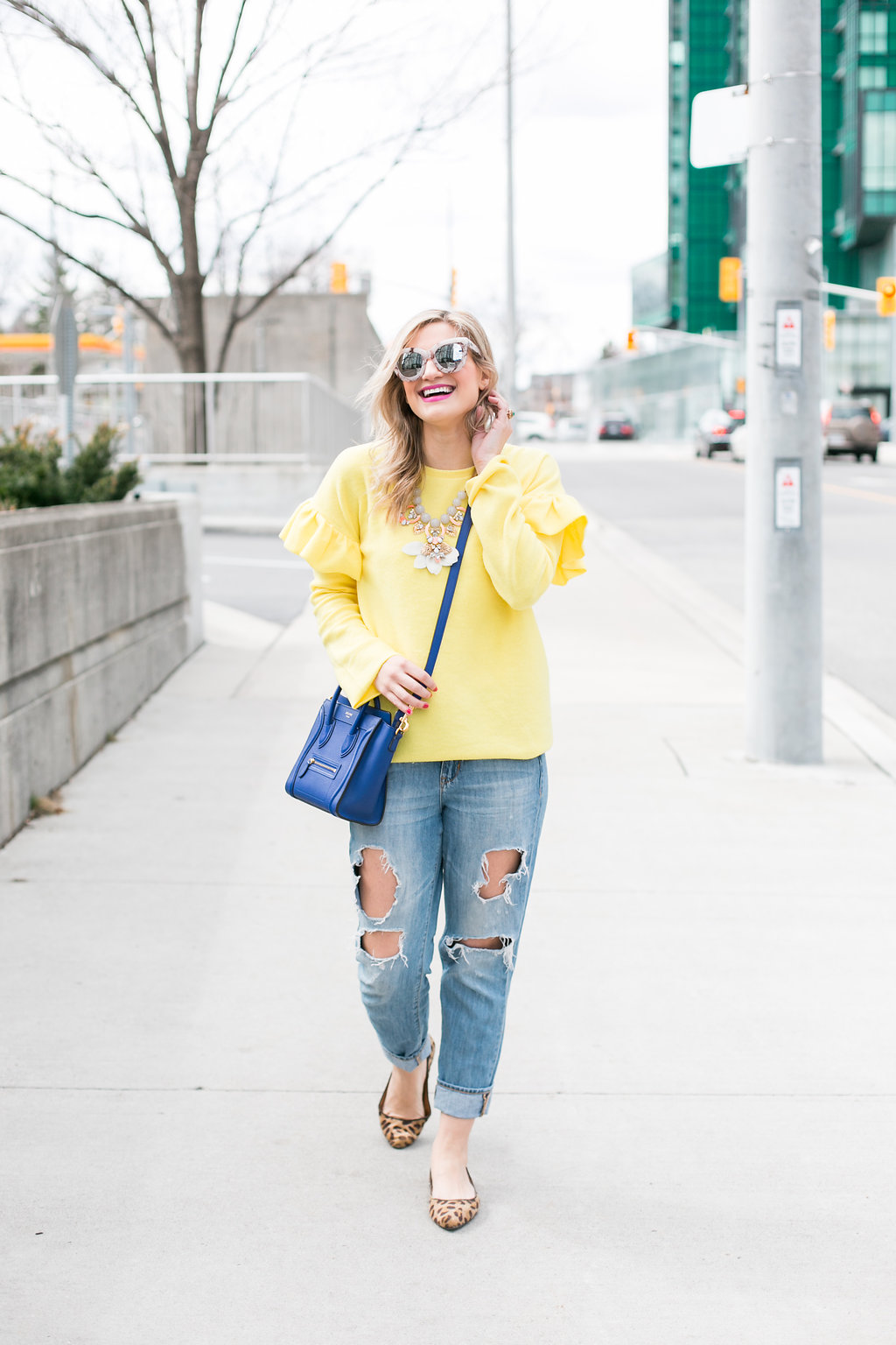 Bijuleni  Yellow Ruffle Sleeve Sweater, Distressed Boyfriend jeans, leopard flats and Celine nano Handbag