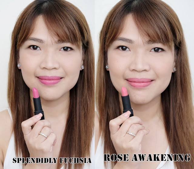 a photo of Avon True Perfectly Matte Lipsticks review in shades Mauve Matters, Pure Pink, Electric Pink,  Spendidly Fuchsia and Rose Awakening.