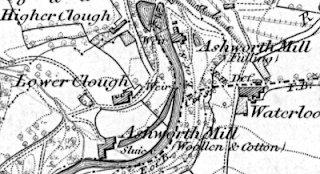 Ashworth Mill (woollen and cotton), OS map 1848.