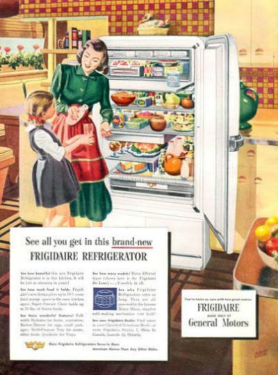 1959 Frigidaire Refrigerator Ad Typical Fifties' Mom in Shirtwaist Dress