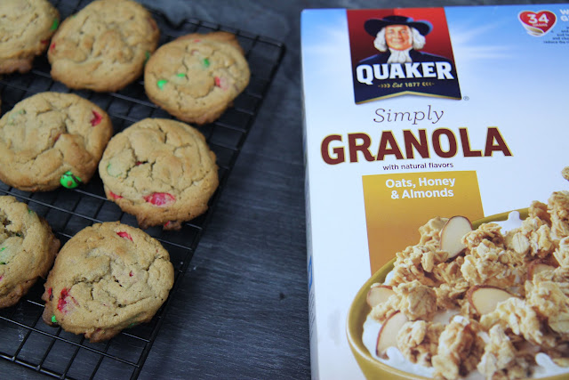 Make these delicious Mini Monster Cookies with Granola in no time for the holiday season. They use fantastic mix-ins, as well as the new Quaker® Simply Granola.