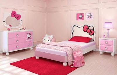 Gambar Kamar Tidur Hello Kitty Anak Perempuan Warna Pink Ungu Desain Terbaru