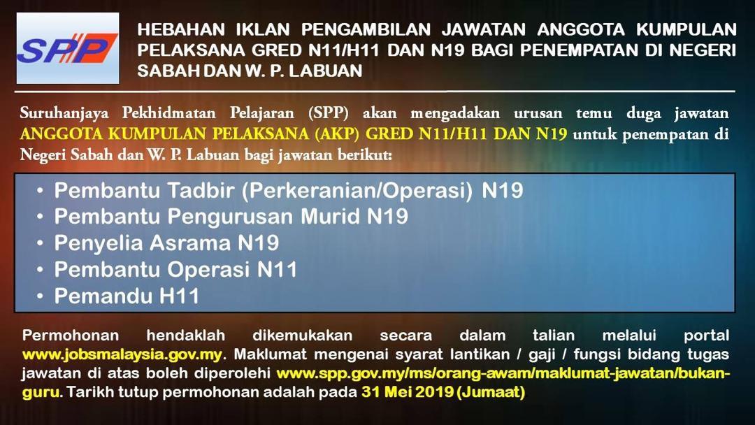 Jawatan Kosong Di Suruhanjaya Perkhidmatan Pelajaran Spp Penempatan Di Sabah Labuan Jobcari Com Jawatan Kosong Terkini