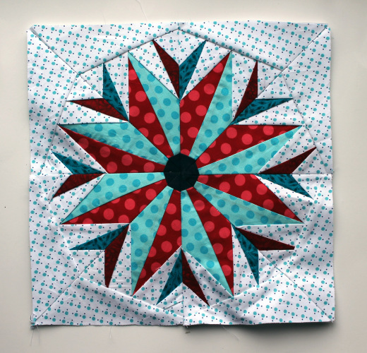 Feathered Compass Block made by Cath of Wombat Quilts, The Pattern designed by Quilting on the Square