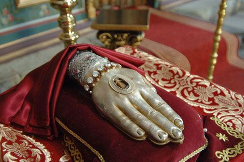 Bone fragment of Saint John the Baptist's hand, encased in silver.  Photo; John Canning