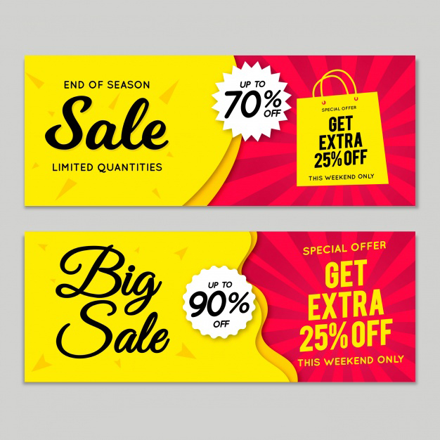 Hand drawn sale banners Free Vector