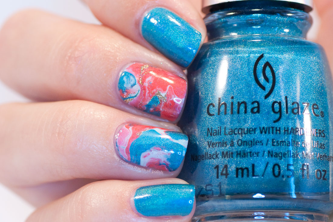 31 Day Challenge: Day 5, Blue Nails - China Glaze DV8 fluid nail art