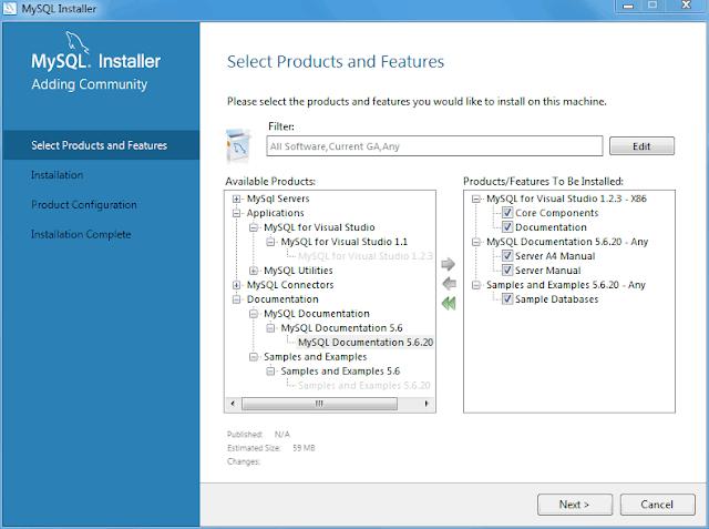 MySQL installation : Choose windows from the list