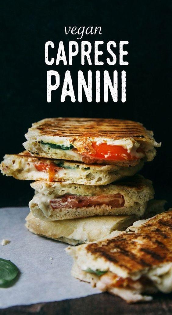 Vegan Caprese Panini (With Tomatoes, Basil & Cashew Mozzarella)