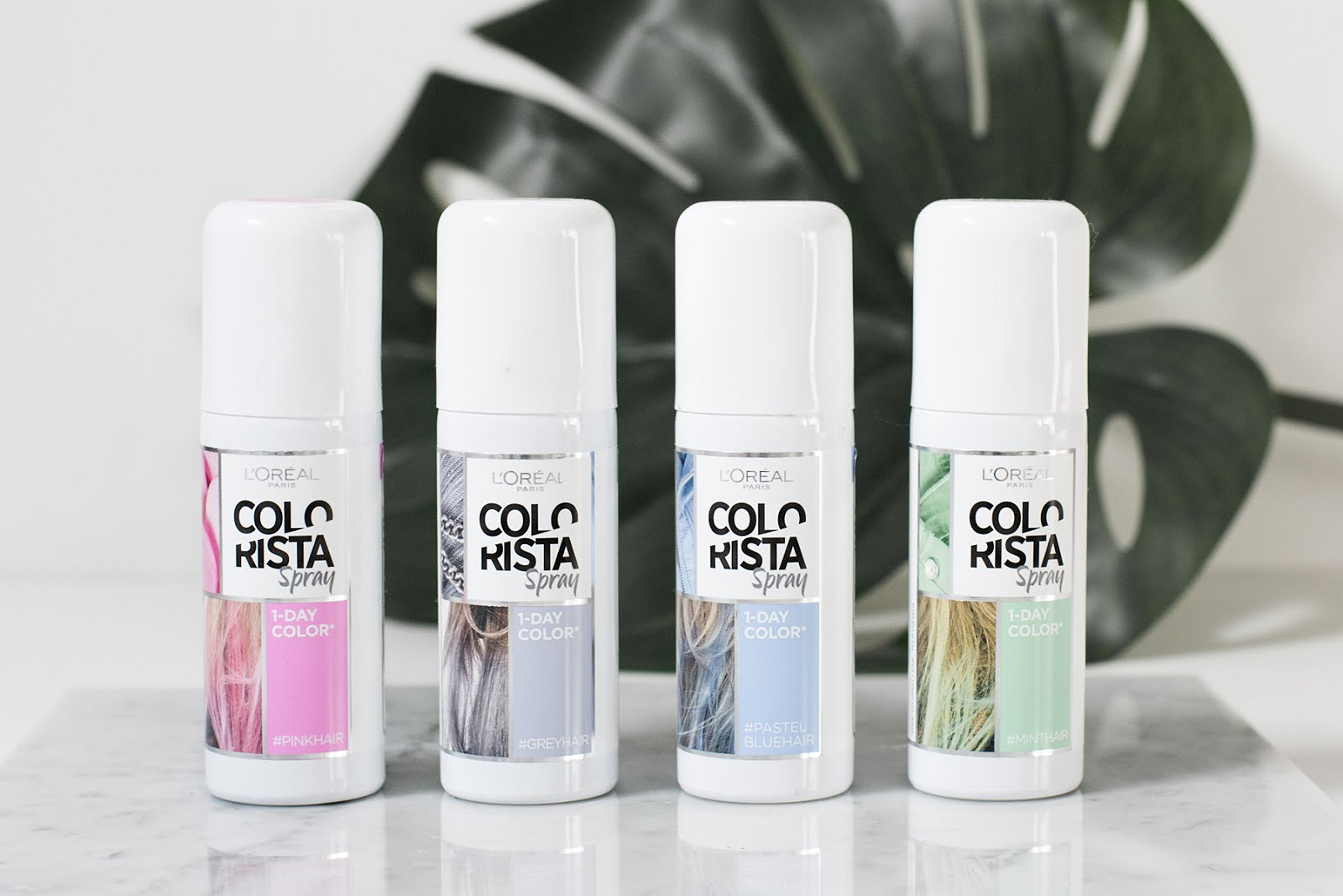 L'oreal colorista, spray, pink, blue, grey, green, review, test, hair, blonde, white, festival hair, colored hairspray