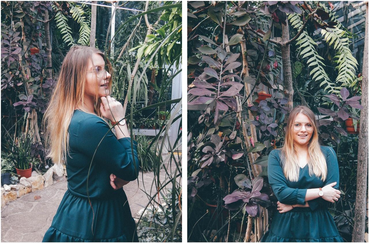 10 nagłówek mia gold zielona sukienka butelkowa zieleń z falbankami czarne muszkieterki za kolano deichmann blond fryzury modne 2018 ombre somblre daniel wellington sesja w palmiarni skórzany pasek palmy łódź