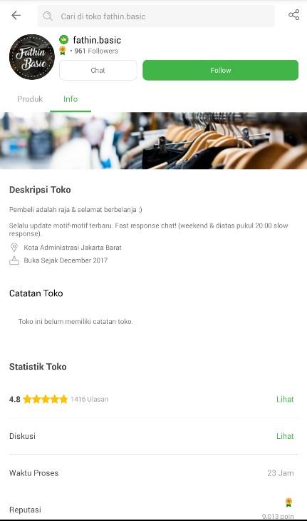 Profile Toko Baju Muslim Fathin Basic di Tokopedia.