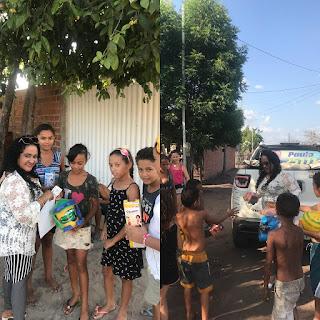 No Dia das Crianças, empresária Rejania Souza distribui presentes para criançada em Anapurus