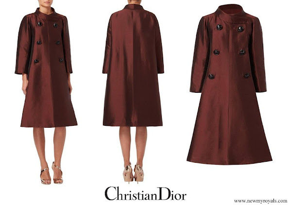 Meghan Markle wore Dior Haute couture evening silk brown coat