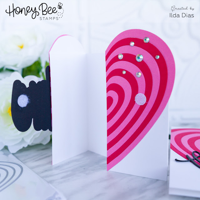 Honey Bee Stamps Bee Bold Honey Release: Day Three - For Sweet Slushy Sake Shaped Gift Card and Stacked Hearts Thinking of You Card by ilovedoingallthingscrafty
