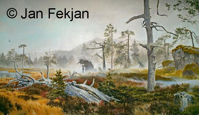 Bilde av digigrafiet 'Trollskog'. Digitalt trykk laget på bakgrunn av et maleri. Et myrlandskap med gress, lyng, små granbusker og en råtten trestamme som ligger i forgrunnen. I disen lenger borte ser man en rotvelte med form som en gammel kone med stokk. I bakgrunnen skimtes en ås gjennom disen, bak noen furutrær.  Stilen kan beskrives som figurativ, nasjonalromantisk og realistisk. Bildet er i breddeformat.