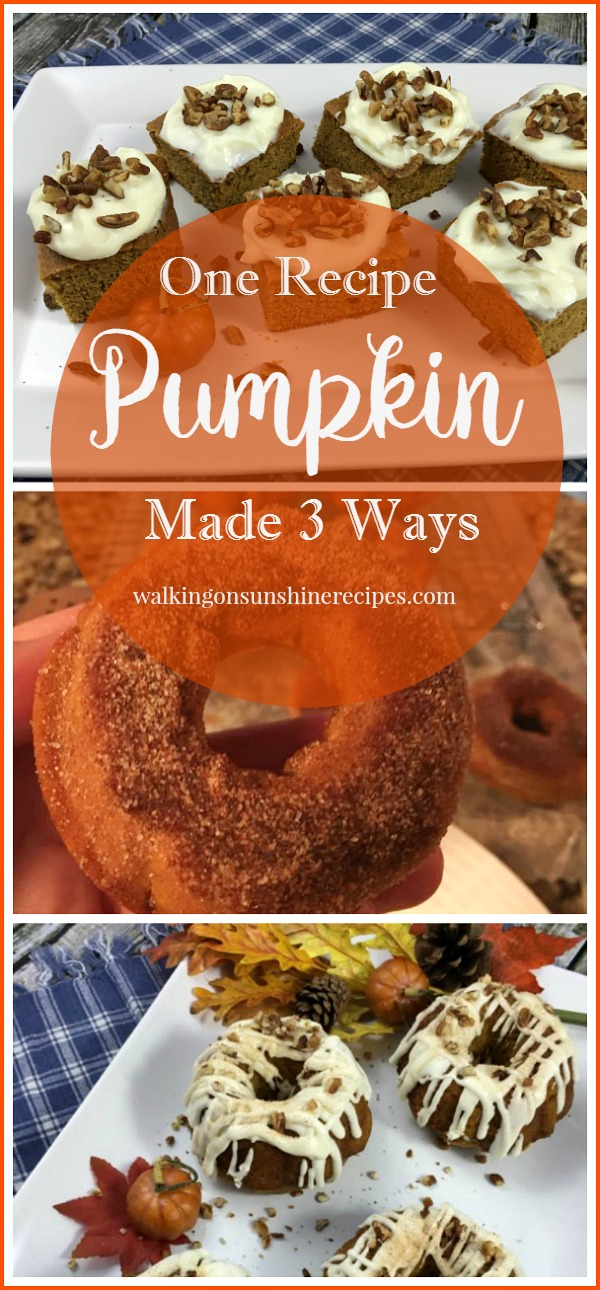 Pumpkin Spice Cake Recipe Made 3 Ways from Walking on Sunshine Recipes LONG